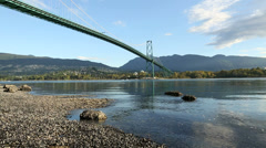 Burrard Inlet, Lions Gate Bridge, Vancouver Morning Stock Footage