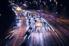 heavy traffic at night - stock photo