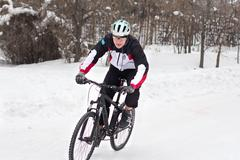 winter cycling    bicycle - stock photo