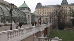 Palm house in Burggarten Garden, Vienna Stock Footage