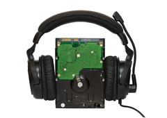 Hdd with headphones Stock Photos