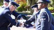 Navy Completing Flag Folding at Funeral Stock Footage
