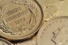 Turkish Gold Coins Close Up Stock Photos