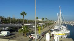 Spain Catalonia Barcelona Olimpic Olympic port w yacht boat Stock Footage