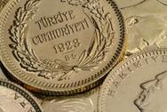 Stock Photo of Turkish Gold Coins Close Up