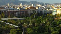 Spain Catalonia Barcelona Park Parc de Joan Miro from above Stock Footage