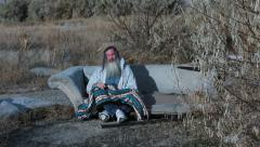 Man outdoor sofa homeless with blanket cold poor HD 0153 Stock Footage