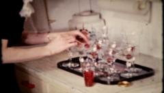 678 - cocktails are mixed at the neighborhood party - vintage film home movie Stock Footage