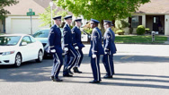 Navy Members Marching at Funeral Stock Footage
