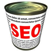 seo (search engine optimization) - can of instant seo - stock illustration