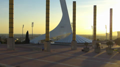 Spain Catalonia Barcelona Montjuic Olympic Tower Telefonica Stock Footage