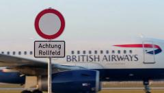 Runway - British Airways plane - stock footage