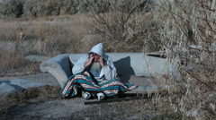 Man outdoor sofa homeless with blanket HD 0153 Stock Footage