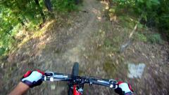 Hd: mountainbiking in forest - stock video Stock Footage