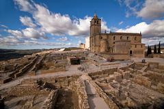 view of the archaeological site and abbey church - stock photo