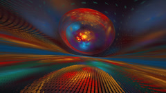 Complex particles and sphere on horizon line  seamless loop fractal Stock Footage