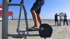 Spain Catalonia Barcelona Esplanade Promenade beach Parcour sport facility Stock Footage