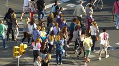 Spain Catalonia Barcelona Plaza Espanya pedestrian crossing zebra cross Stock Footage