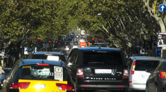 T/L Spain Catalonia Barcelona Rush-Hour Traffic near Plaza Espanya square Stock Footage