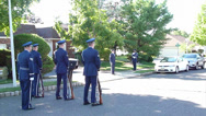 Navy Gun Salute at Funeral Stock Footage