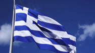 Stock Video Footage of Greek flag waving in blue sky