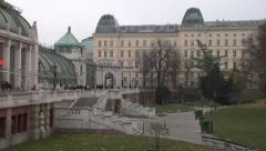 Burggarten Garden in Vienna with its famous palm house. Stock Footage