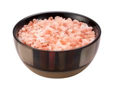 Stock Photo of pink himalayan salt isolated clipping path