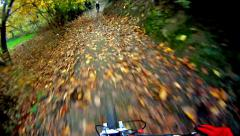mountain bike video: a single track in the forest - stock video - stock footage