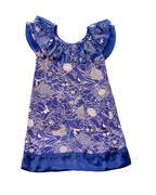 porcelain like floral pattern draped neckline blue dress - stock photo