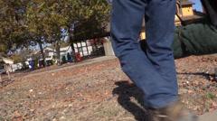 cowboy, walking to depot - stock footage