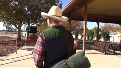 Cowboy, train depot Stock Footage