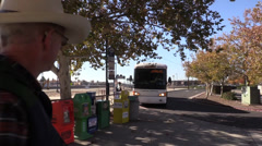 Cowboy, bus station Stock Footage
