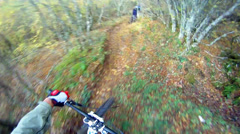 Downhill biking first person view Stock Footage