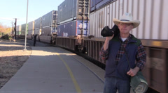 Cowboy, Freight train Stock Footage
