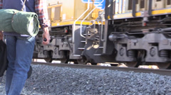 Cowboy ,freight train rolling Stock Footage