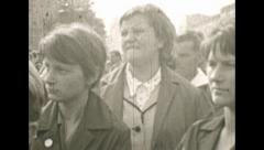 East Berlin 1960's: young men watching a concert Stock Footage
