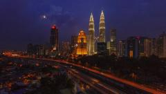 Day to Night Time-lapse of Kuala Lumpur city during rush hour Stock Footage