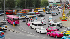 Bangkok - apr 10: cars and taxis drive in a flow of megapolis traffic on apr Stock Footage