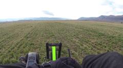 Ultralight aircraft takeoff farm field aerial shot HD 0186 Stock Footage