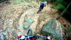 Hd: extreme mountain bike sport race cycling - stock video Stock Footage