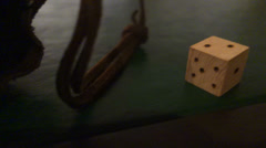 Wooden old timey gambling dice 2 Stock Footage