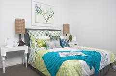 guest bedroom in modern townhouse - stock photo