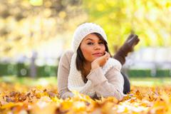Autumn outdoor portrait of beautiful young woman - caucasian people Stock Photos