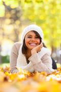 autumn outdoor portrait of beautiful young woman - caucasian people - stock photo