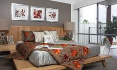 master bedroom in modern townhouse - stock photo