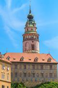 cesky krumlov / krumau castle and tower, unesco world heritage site - stock photo