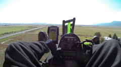 Aerial shot  ultralight powered parachute lands after flight HD 0166 Stock Footage