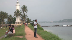 Visitors in Galle fort, Sri Lanka Stock Footage