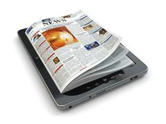 news online concept. tablet pc and newspaper. - stock illustration