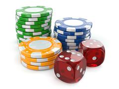 Stock Illustration of gambling casino. dice and chips.